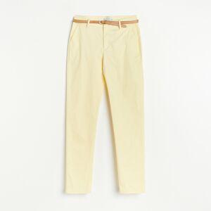 Reserved - Chino nohavice s opaskom - Žltá