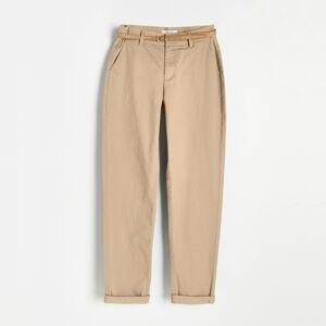 Reserved - Chino nohavice s opaskom - Béžová