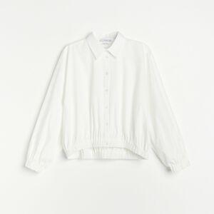 Reserved - Bavlnená košeľa s pufovanými rukávmi - Krémová