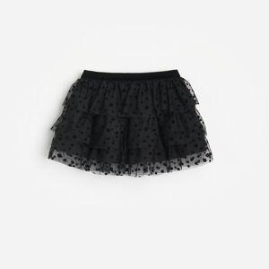 Reserved - Tylová sukňa s volánmi - Čierna