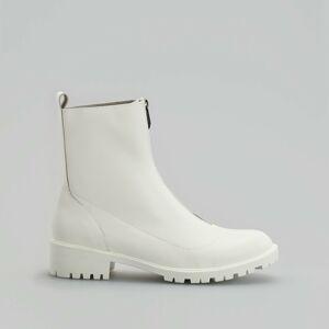 Reserved - Kožené členkové topánky so zapínaním na zips - Biela