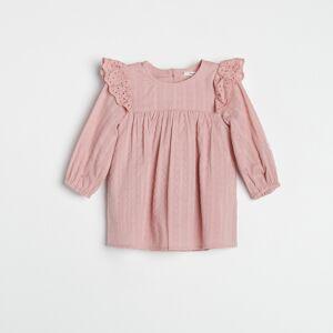 Reserved - Šaty s čipkovanými vsadkami - Ružová