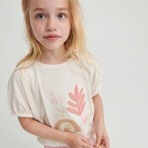 Reserved - Bavlnené tričko s aplikáciou - Krémová