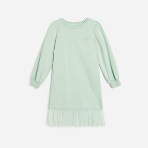 Reserved - Bavlnené úpletové šaty - Zelená