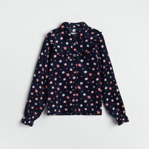 Reserved - Kvetovaná košeľa - Tmavomodrá