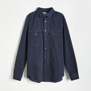 Reserved - džínsová košeľa regular fit - Tmavomodrá