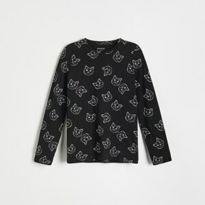 Reserved - Bavlnená košeľa s potlačou - Čierna