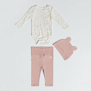 Reserved - Babies` body suit, trousers & cap - Krémová
