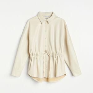 Reserved - Košeľa z imitácie kože - Krémová