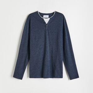 Reserved - Basic tričko s dlhými rukávmi - Tmavomodrá