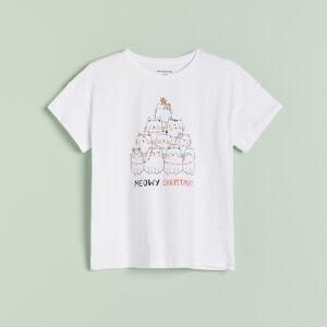 Reserved - Tričko s vianočnou potlačou - Biela