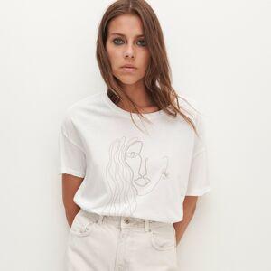 Reserved - Bavlnené tričko saplikáciou - Biela