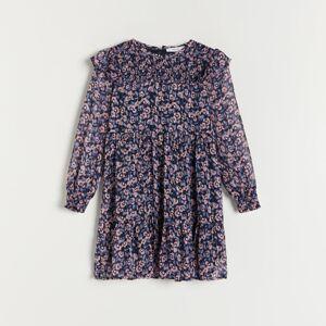 Reserved - Šaty s volánmi - Tmavomodrá