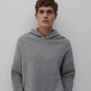 Reserved - Úpletový sveter s kapucňou - Svetlošedá