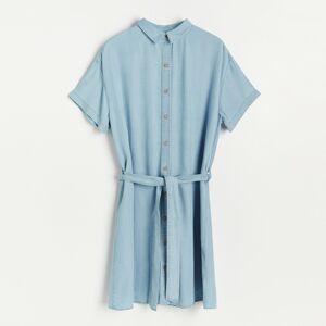 Reserved - Šaty z lyocellu Tencel™ - Modrá