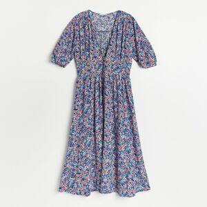 Reserved - Vzorované viskózové šaty - Modrá