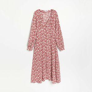 Reserved - Vzorované viskózové šaty - Červená