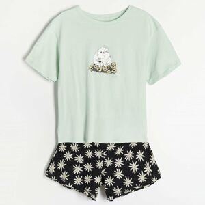 Reserved - Dvojdielne pyžamo The Moomins - Zelená