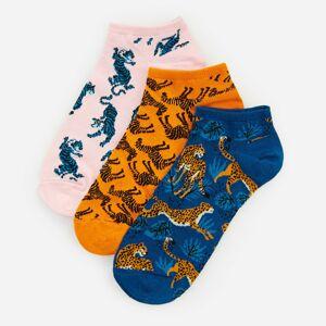 Reserved - Súprava 3 párov bavlnených vzorovaných členkových ponožiek - Tyrkysová