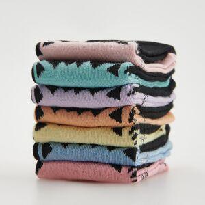 Reserved - Súprava 7 párov ponožiek s motívom mačiek - Čierna