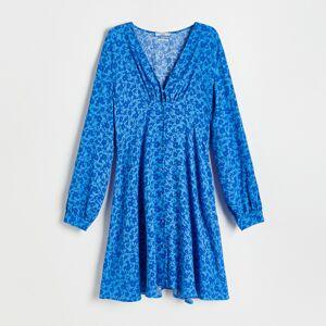 Reserved - Vzorovaná košeľa z materiálu EcoVero™ - Modrá