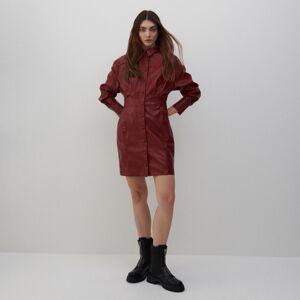Reserved - Šaty z eko kože - Bordový