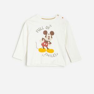 Reserved - Bavlnené tričko s dlhými rukávmi a potlačou Mickey Mouse - Krémová