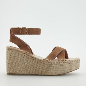 Reserved - Kožené sandále na platforme - Béžová