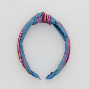 Reserved - Ozdobne pletená čelenka - Modrá