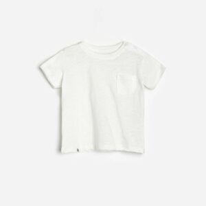 Reserved - Bavlnené tričko s vreckom - Krémová