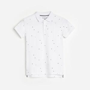 Reserved - Tričko polo s vianočným vzorom - Biela