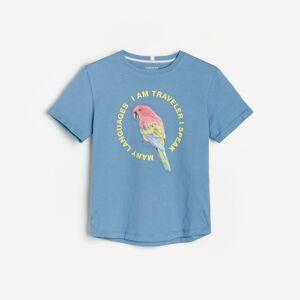 Reserved - Bavlnené tričko spotlačou - Modrá