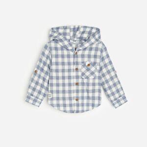Reserved - Flanelová košeľa s kapucňou - Krémová