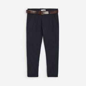 Reserved - Chino nohavice s opaskom - Tmavomodrá