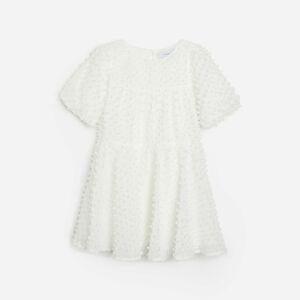 Reserved - Šaty z látky plumetis - Krémová