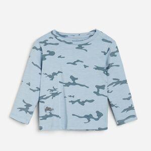 Reserved - Bavlnené army tričko s dlhými rukávmi - Modrá