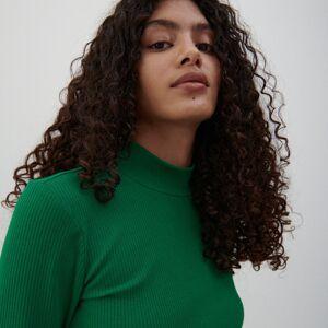 Reserved - Blúzka z pruhovanej tkaniny - Zelená