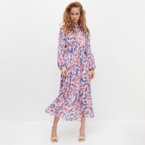 Reserved - Šifónové šaty s metalickými niťami - Viacfarebná