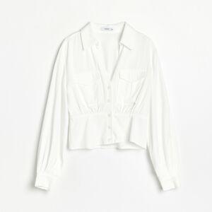 Reserved - Hladká košeľa s vreckami - Krémová