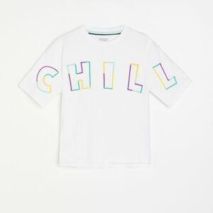 Reserved - Bavlnené tričko s nápisom - Biela