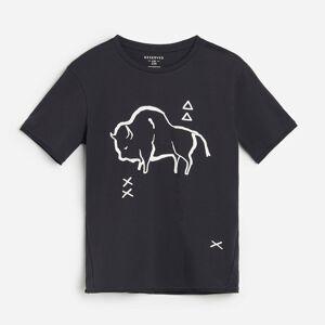 Reserved - Bavlnené tričko spotlačou - Čierna