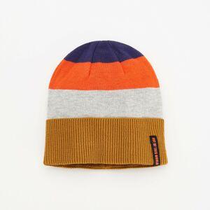 Reserved - Pásikavá pletená čiapka - Oranžová