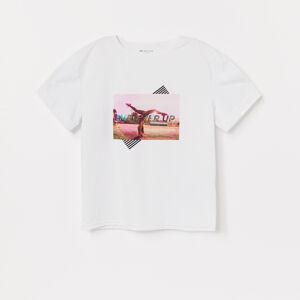 Reserved - Tričko s lesklou potlačou - Biela
