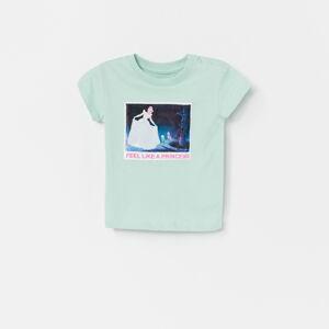 Reserved - Bavlnené tričko s potlačou Cinderella - Zelená
