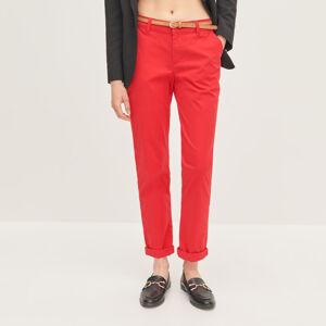 Reserved - Chino nohavice s opaskom - Červená