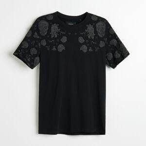 Reserved - Tričko so štruktúrovanou potlačou - Čierna