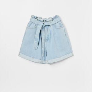 Reserved - Denimové šortky paperbag - Modrá