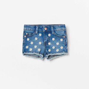 Reserved - Denimové šortky s kvetinovým motívom - Modrá