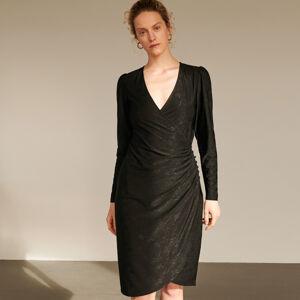 Reserved - Šaty s prekladaným predným dielom - Čierna