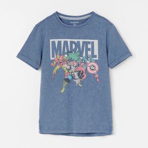 Reserved - Bavlnené tričko s motívom Marvel - Tmavomodrá